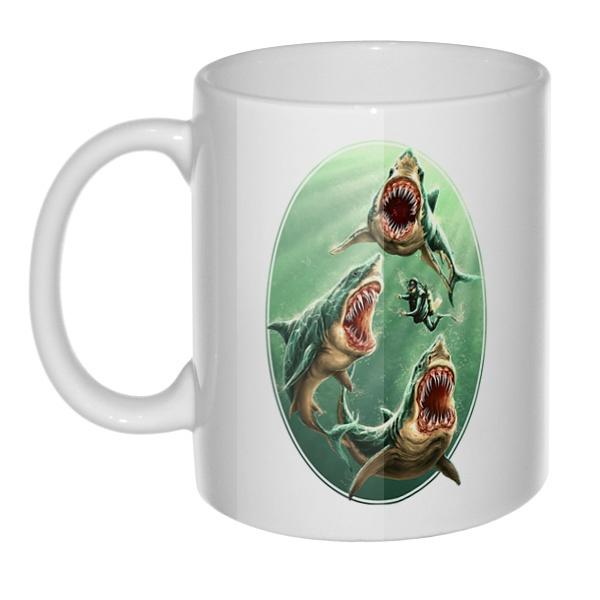 Кружка Водолаз и хищные акулы