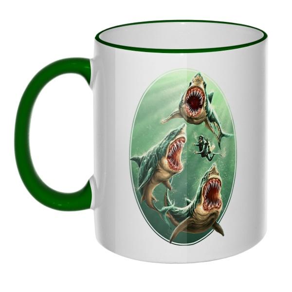 Кружка Водолаз и хищные акулы с цветным ободком и ручкой