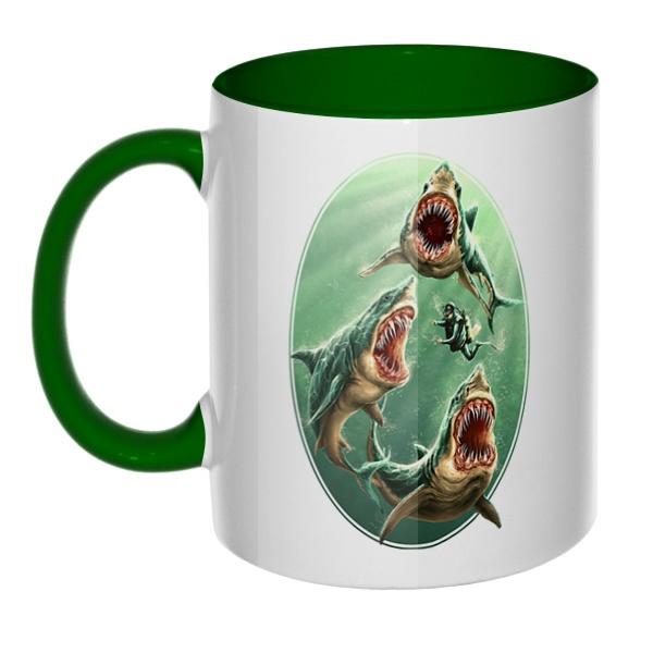 Водолаз и хищные акулы, кружка цветная внутри и ручка