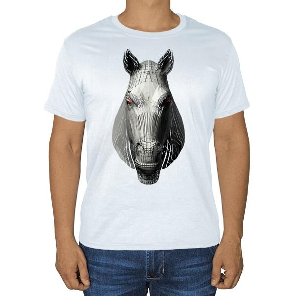 Полигональная лошадь, белая футболка