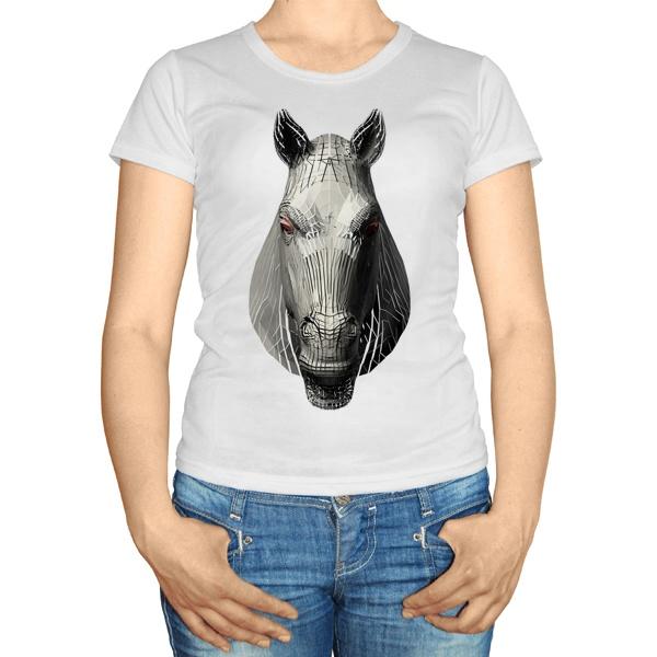 Женская футболка Полигональная лошадь