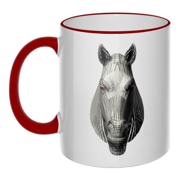 Кружка Полигональная лошадь с цветным ободком и ручкой