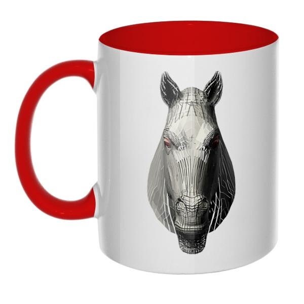 Полигональная лошадь, кружка цветная внутри и ручка
