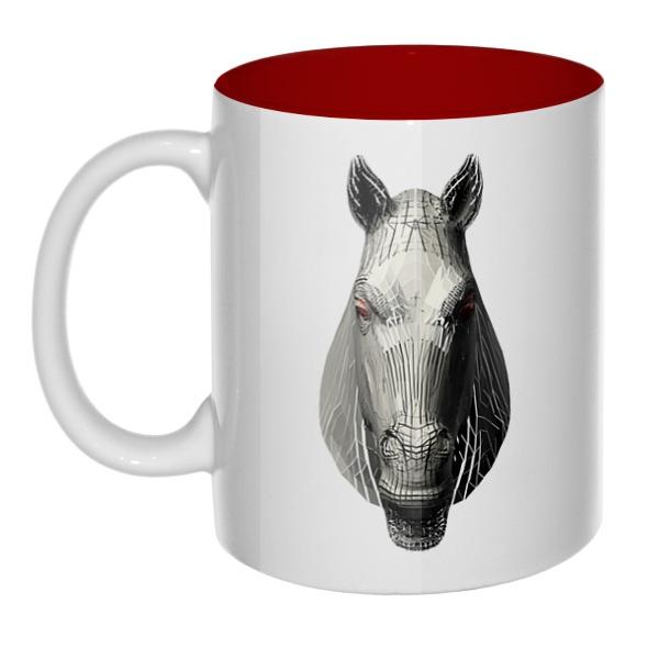 Полигональная лошадь, кружка цветная внутри