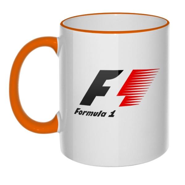 Кружка Логотип Формулы-1 с цветным ободком и ручкой