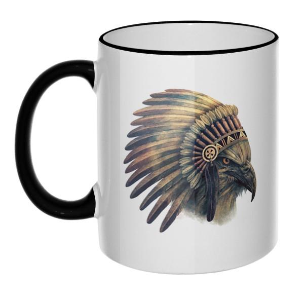 Кружка Орел-индеец с цветным ободком и ручкой