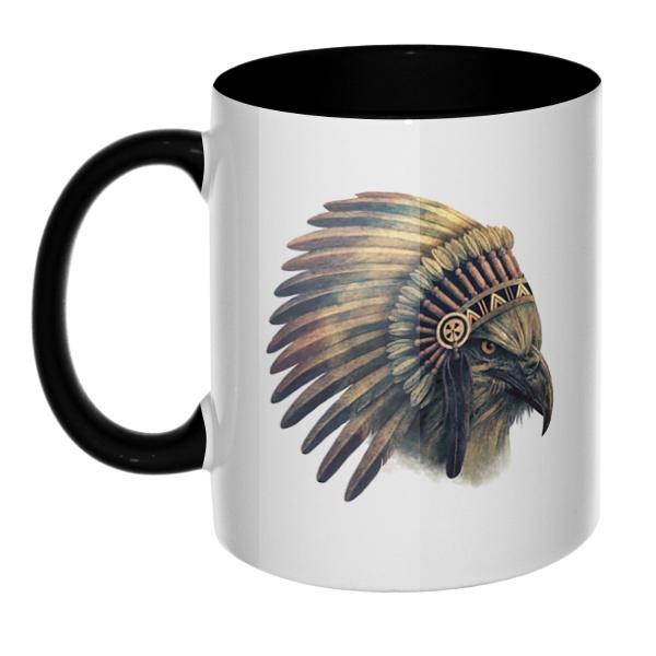 Орел-индеец, кружка цветная внутри и ручка
