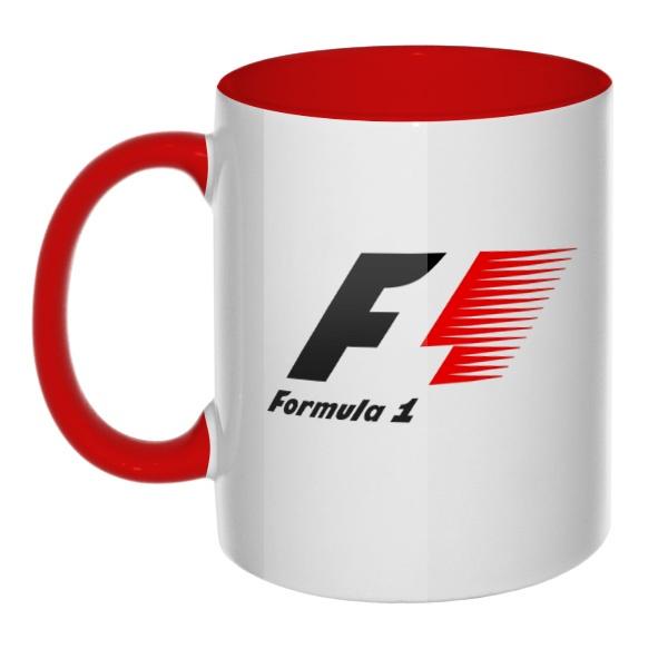Кружка Логотип Формулы-1 цветная внутри и ручка
