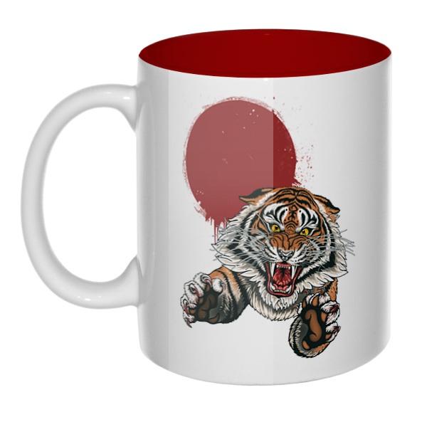 Свирепый тигр, кружка цветная внутри