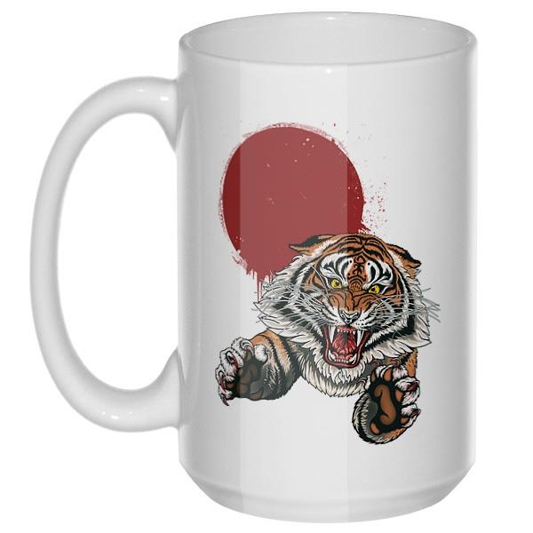Свирепый тигр, большая кружка с круглой ручкой