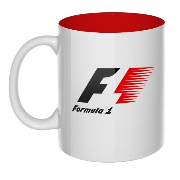 Кружка цветная внутри Логотип Формулы-1