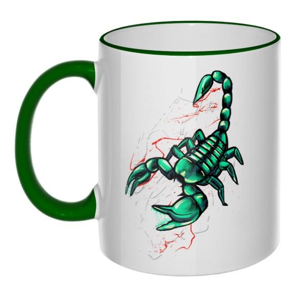 Кружка Рисунок скорпиона с цветным ободком и ручкой