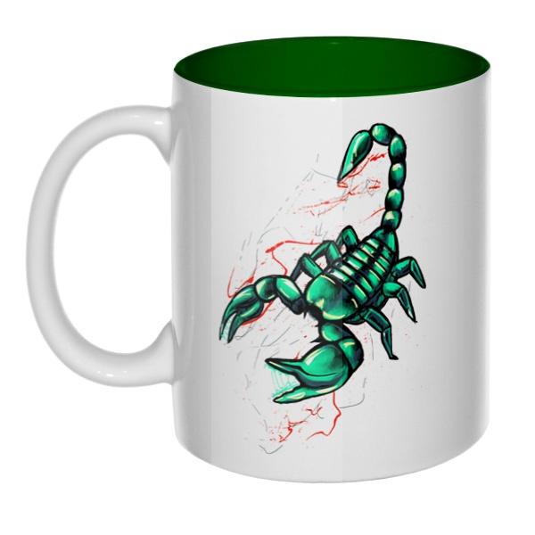 Рисунок скорпиона, кружка цветная внутри