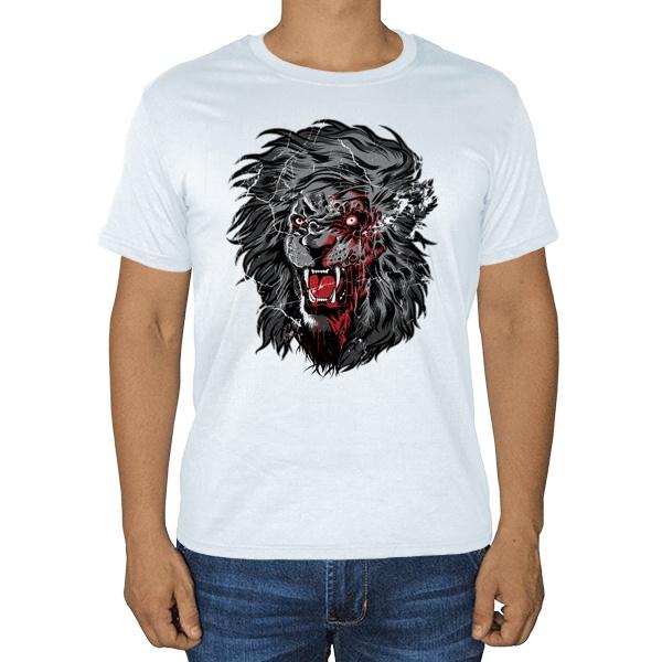 Свирепый лев, белая футболка