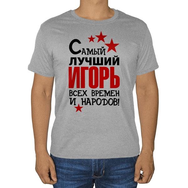 Самый лучший Игорь, серая футболка (меланж), цвет серый меланж