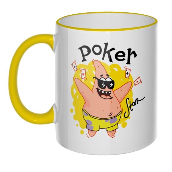 Кружка Патрик покер-звезда с цветным ободком и ручкой