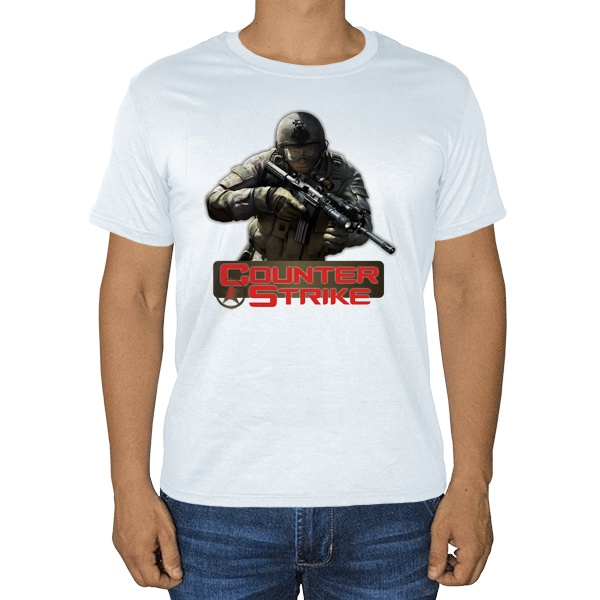 CS, белая футболка