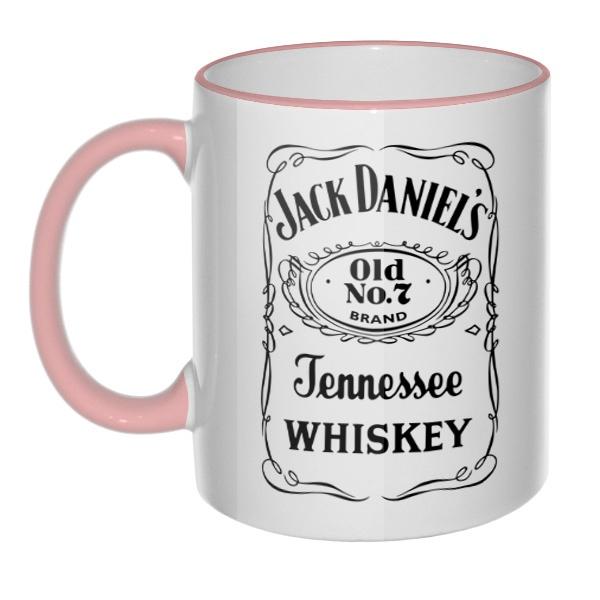 Кружка Jack Daniel's (цветной ободок и ручка), цвет розовый