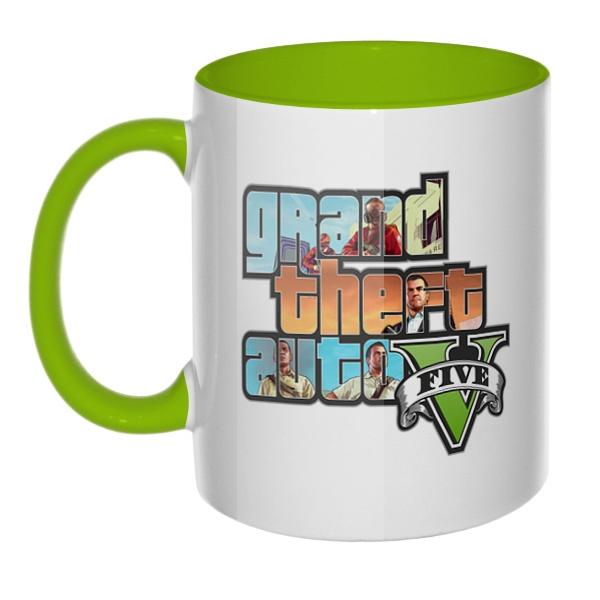 Grand Theft Auto V, кружка цветная внутри и ручка