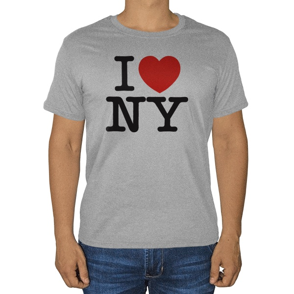 Серая футболка I love NY (меланж)