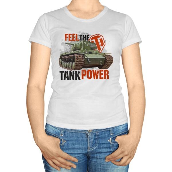 Женская футболка Feel the tank power