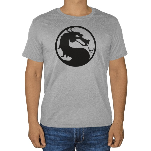 Серая футболка Мортал Комбат (меланж), цвет серый меланж