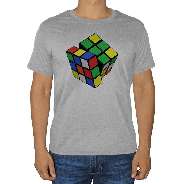 Кубик Рубика, серая футболка (меланж)