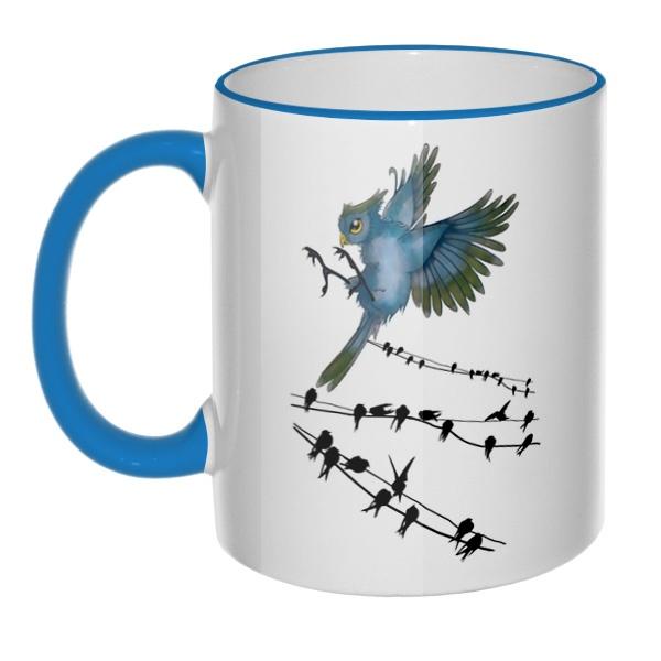 Кружка Птицы как ноты с цветным ободком и ручкой