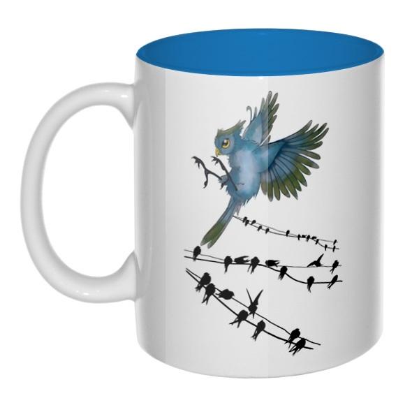 Птицы как ноты, кружка цветная внутри