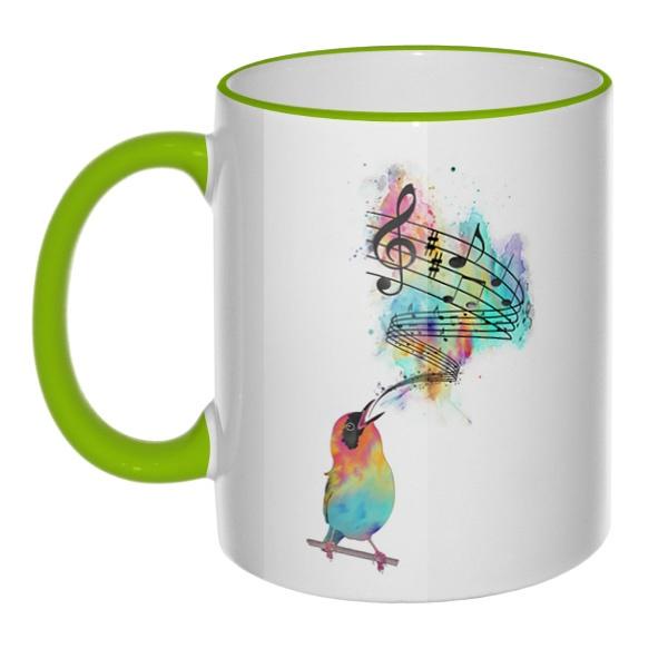 Кружка Птица поет с цветным ободком и ручкой