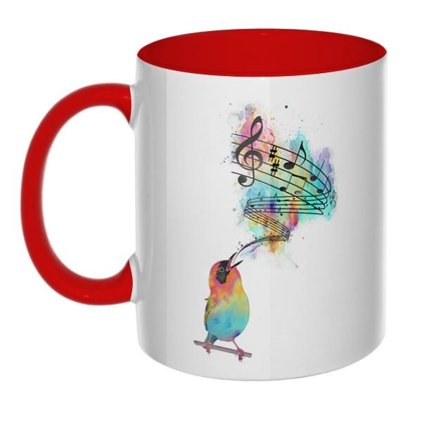 Птица поет, кружка цветная внутри и ручка