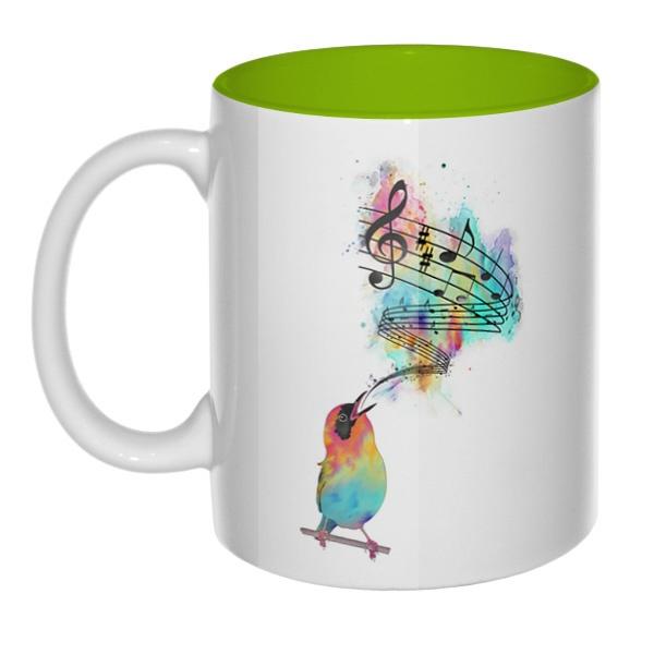 Птица поет, кружка цветная внутри