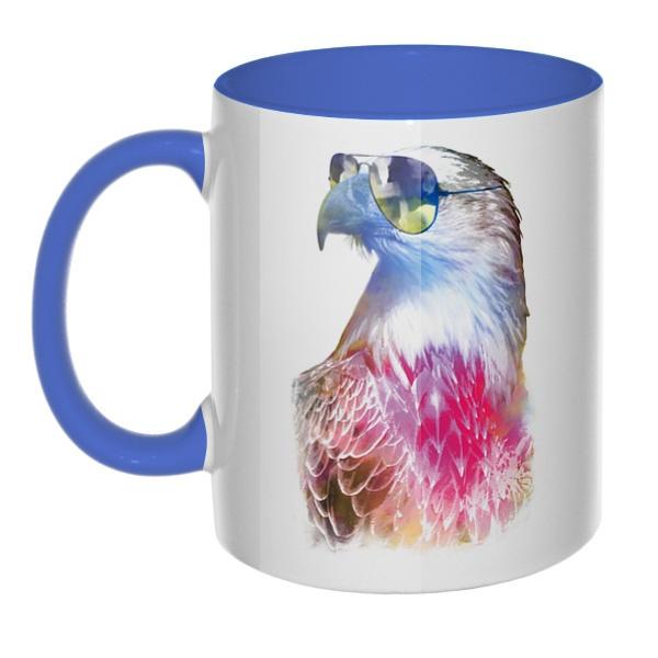 Орёл в очках, кружка цветная внутри и ручка