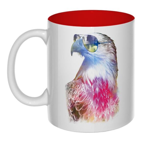 Орёл в очках, кружка цветная внутри
