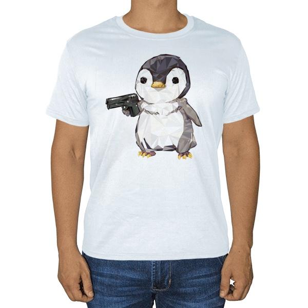 Пингвин с пистолетом, белая футболка