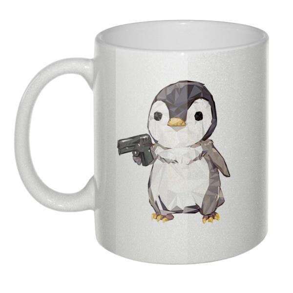Кружка перламутровая Пингвин с пистолетом