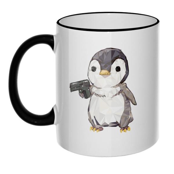 Кружка Пингвин с пистолетом с цветным ободком и ручкой