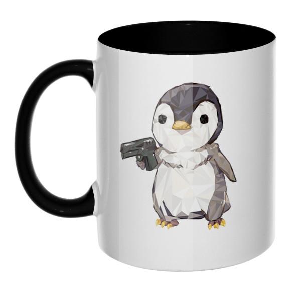 Пингвин с пистолетом, кружка цветная внутри и ручка