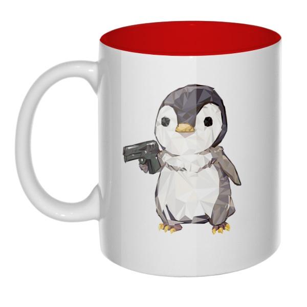 Пингвин с пистолетом, кружка цветная внутри