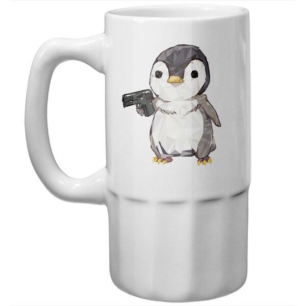 Пивная кружка Пингвин с пистолетом