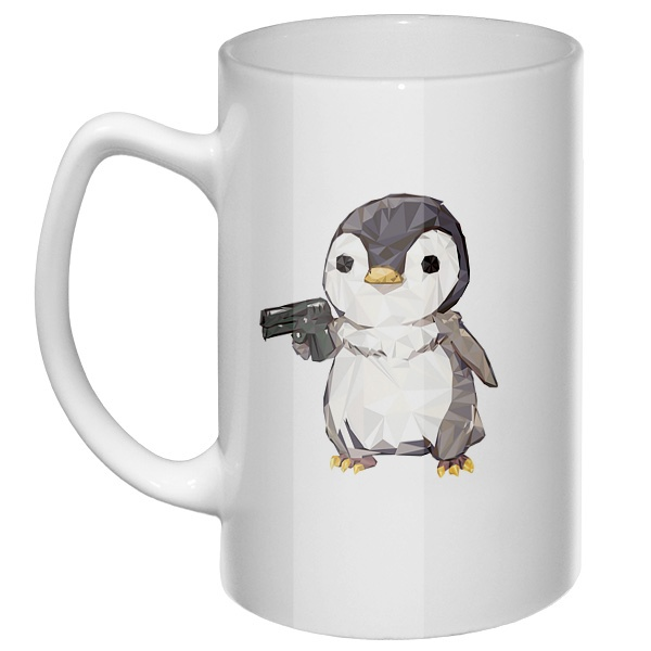 Большая кружка Пингвин с пистолетом