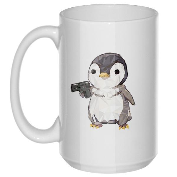 Пингвин с пистолетом, большая кружка с круглой ручкой