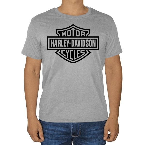 Harley Davidson, серая футболка (меланж)