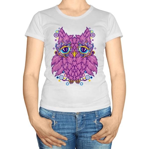Женская футболка Сова из розовых листьев