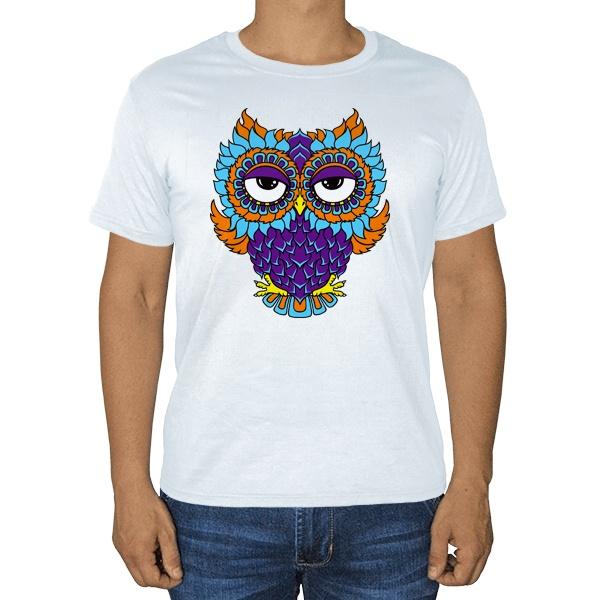 Яркая сова, белая футболка