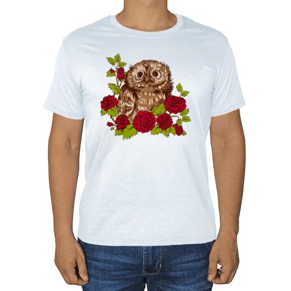Совенок в розах, белая футболка