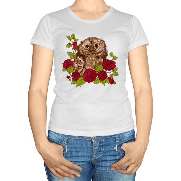 Женская футболка Совенок в розах