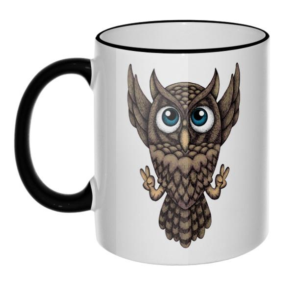 Кружка Owl с цветным ободком и ручкой
