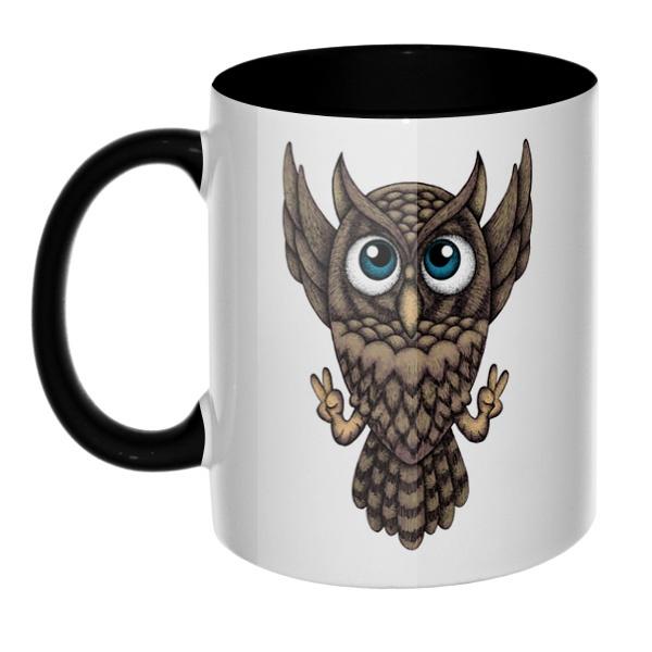 Owl, кружка цветная внутри и ручка