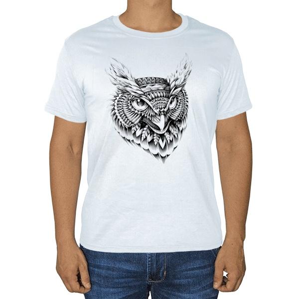 Черно-белый рисунок совы, белая футболка